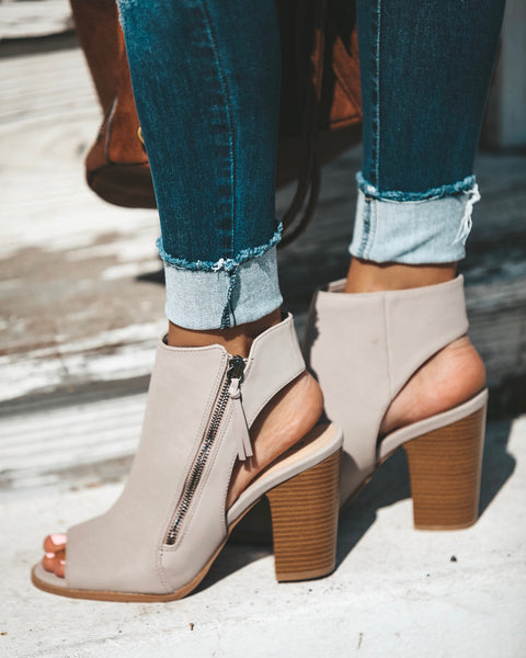Flirt Faux Leather Zip Bootie - Taupe