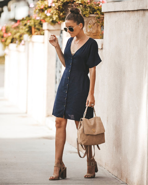 Beechwood Pocketed Button Down Dress - Navy
