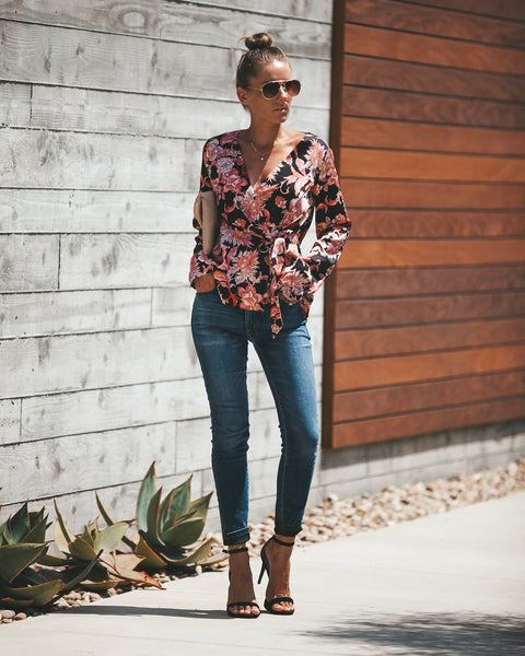 Sacred Lotus Wrap Blouse - FINAL SALE