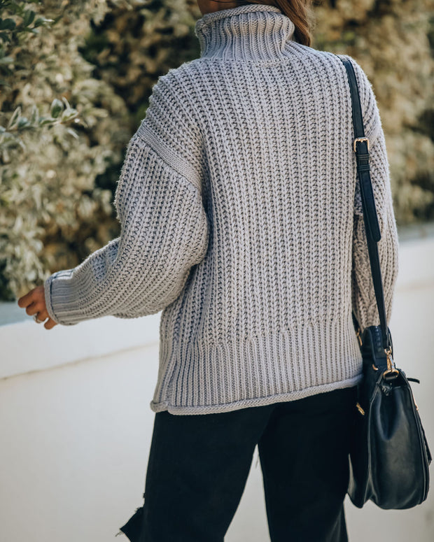 Connie Turtleneck Knit Sweater - Grey - FINAL SALE