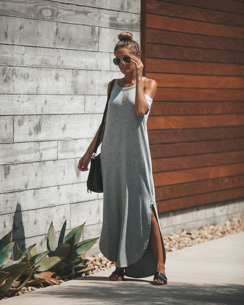 Till Sunrise Cold Shoulder Pocketed Maxi Dress - Heather Grey