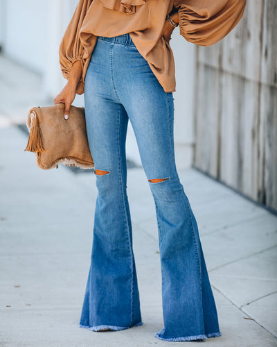 Up + Above Distressed Bell Bottom Denim Pants
