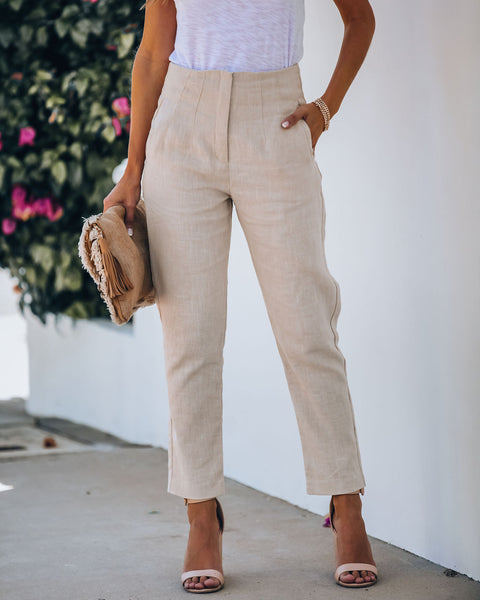 Hiatus Linen + Cotton Pocketed High Rise Pants