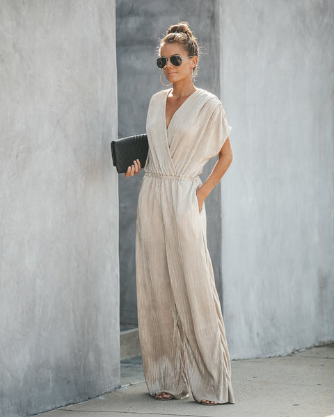 Glimmer Of Light Pleated Pocketed Jumpsuit
