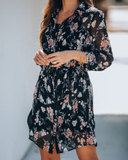 Achilles Floral Chiffon Shirt Dress