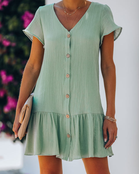 Topaz Cotton Button Down Babydoll Dress - Light Sage