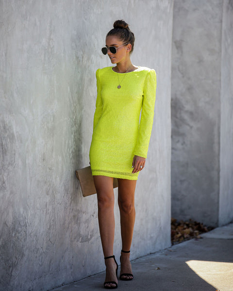 Night In Neon Long Sleeve Sequin Bodycon Dress