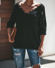 Lydia Lace Contrast Sweater - Black