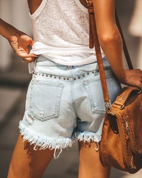 Stallion Studded Distressed Denim Shorts