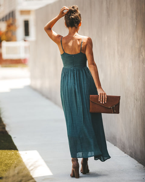 Desert Dancer Tie Pocketed Maxi Dress - Teal