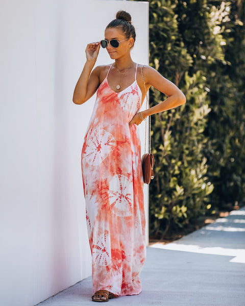 Say No More Tie Dye Drape Maxi Dress - Tangerine