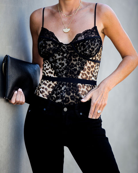 Beauty And Essex Leopard Lace Bodysuit