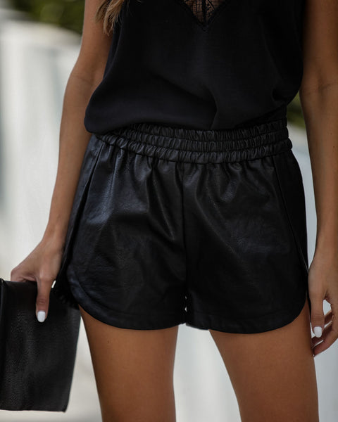 Big City Dreams Coated Faux Leather Shorts