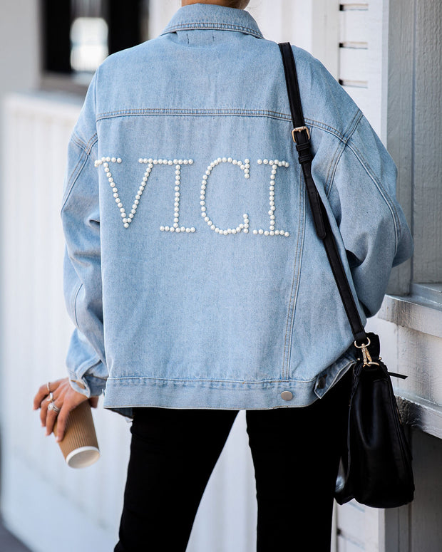 Vici Embellished Pocketed Denim Jacket  - FINAL SALE