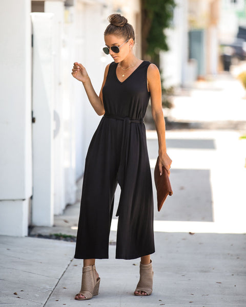 Nonchalant Pocketed Tie Jumpsuit - Black