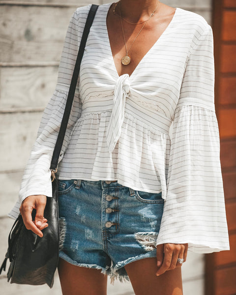 Blurred Lines Tie Blouse