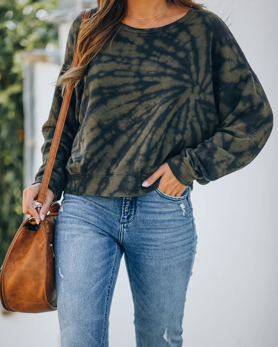 Millie Cotton Blend Tie Dye Pullover - Olive
