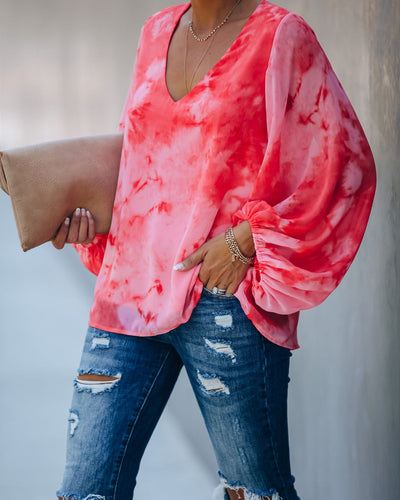 The Search Is Over Tie Dye Balloon Sleeve Blouse - FINAL SALE