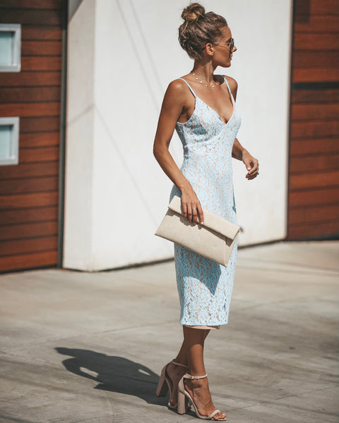 From This Moment Lace Midi Dress - Sky Blue