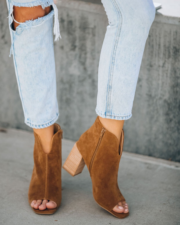 Celina Faux Suede Peep Toe Bootie - Camel view 9