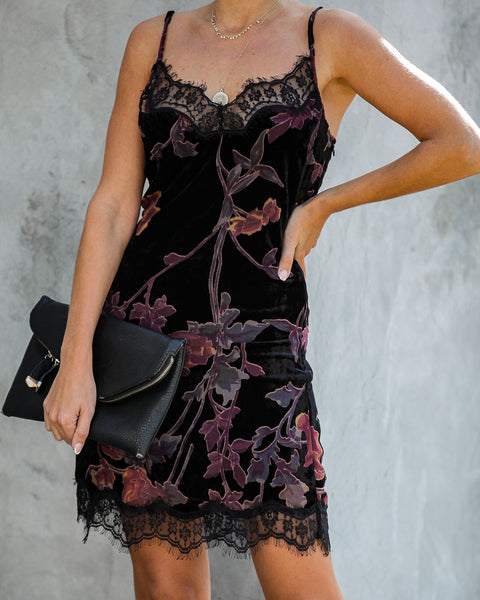 Monae Velvet Burnout Lace Dress  - FINAL SALE