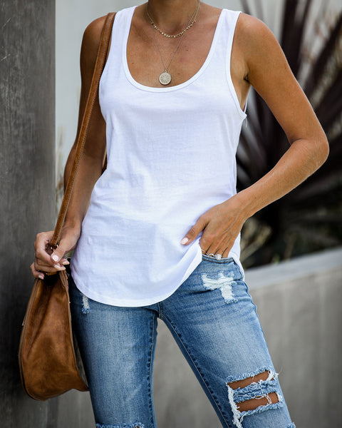 Next Generation Cotton Scoop Tank - White