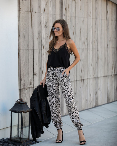Down The Boulevard Pocketed Leopard Joggers - FINAL SALE