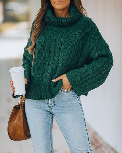 Lyla Cotton Blend Cable Knit Sweater - Hunter Green
