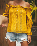 Born On Broadway Cotton Eyelet Off The Shoulder Top - Honey