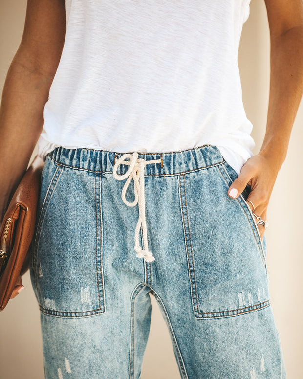Gather 'Round Distressed Pocketed Denim Joggers view 6