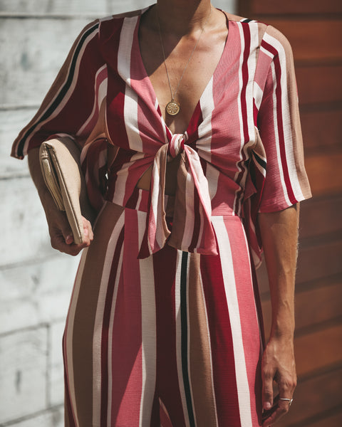 Tied Up Striped Kimono Jumpsuit - FINAL SALE