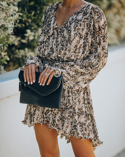 Melissa Pleated Leopard Tie Dress
