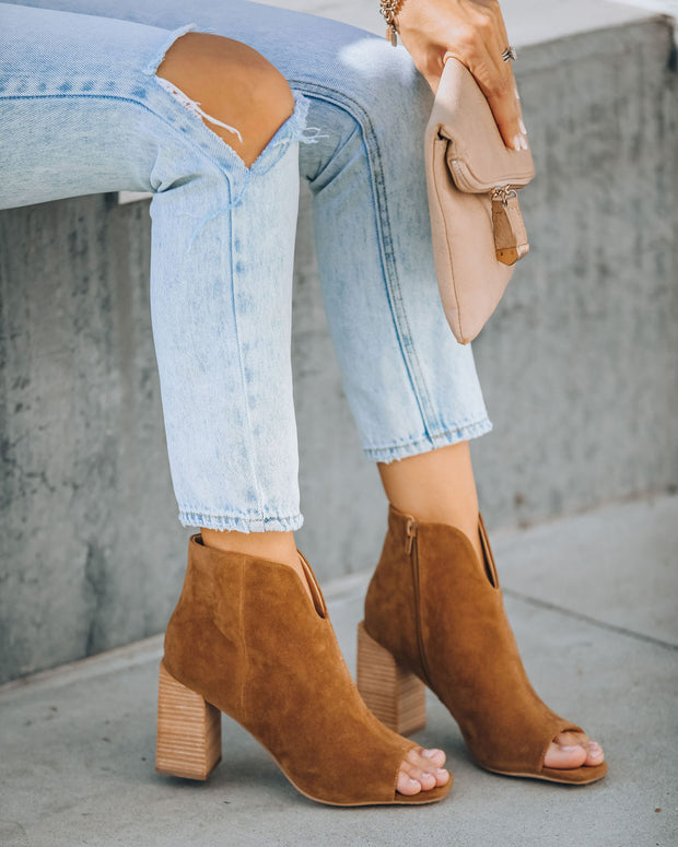 Celina Faux Suede Peep Toe Bootie - Camel view 7