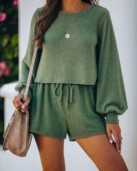 Siesta Time Knit Shorts - Olive  - FINAL SALE