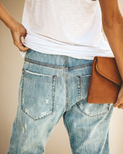 Gather 'Round Distressed Pocketed Denim Joggers view 7