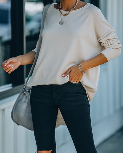Leandra Knit Tunic Sweater - Oatmeal