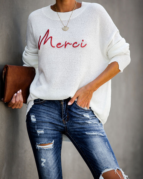 Merci Embroidered Distressed Knit Sweater