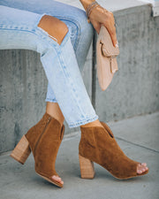 Celina Faux Suede Peep Toe Bootie - Camel view 2