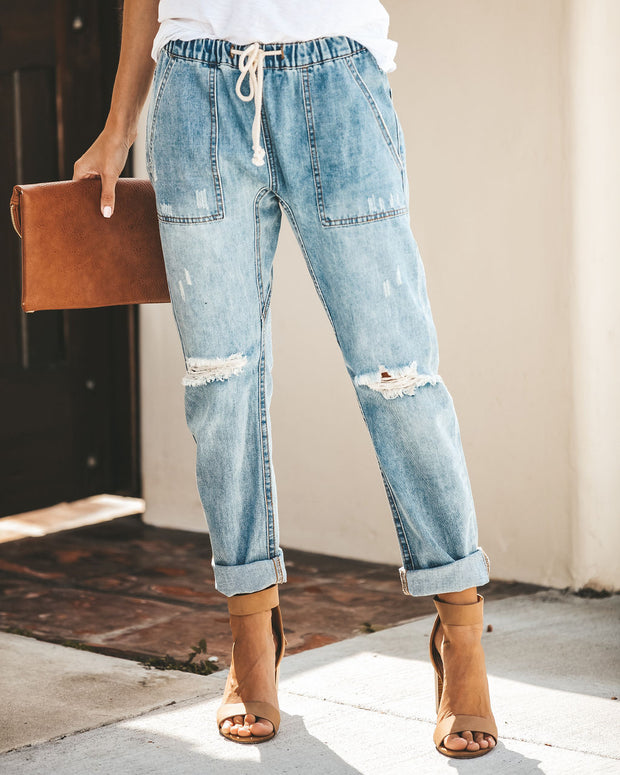 Gather 'Round Distressed Pocketed Denim Joggers view 8