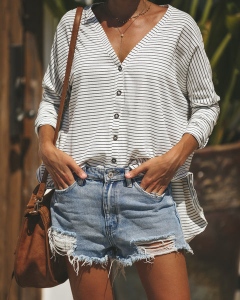 Connecticut Cotton Button Down Top - White/Black
