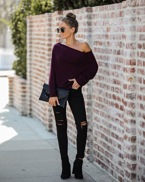 Heart And Soul Asymm Dolman Knit Top - Plum
