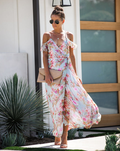 Morning Bloom Cold Shoulder Wrap Maxi Dress - FINAL SALE