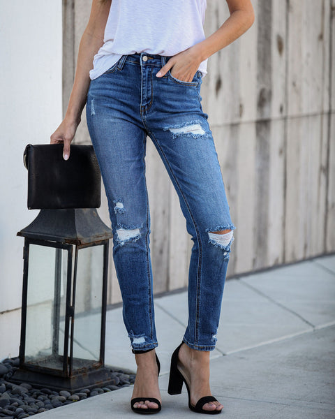 Mendez High Rise Distressed Skinny   - FINAL SALE
