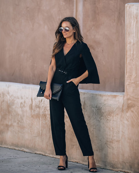 Express Not Impress Pocketed Cape Jumpsuit - FINAL SALE