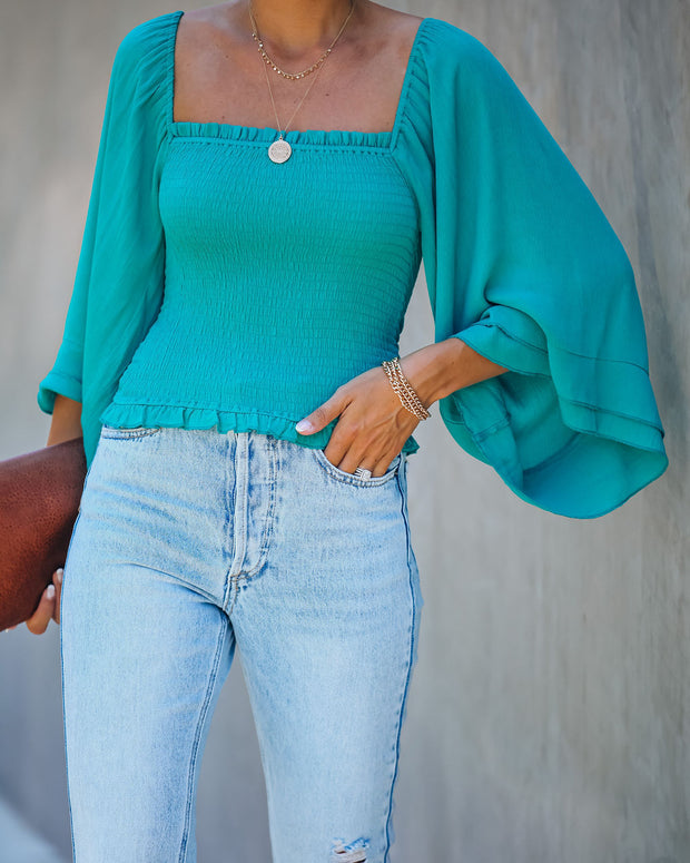 We Belong Together Smocked Top - Teal Blue - FINAL SALE