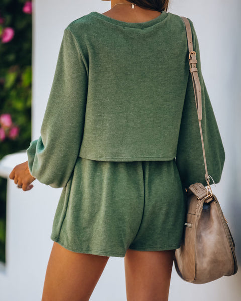 Siesta Time Cropped Knit Top - Olive  - FINAL SALE