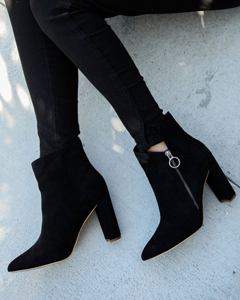 Outgoing Faux Suede Heeled Bootie - Black
