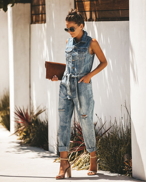 Ollie Pocketed Distressed Denim Overalls
