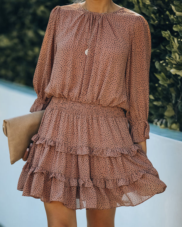 Marissa Printed Puff Sleeve Ruffle Dress - Clay
