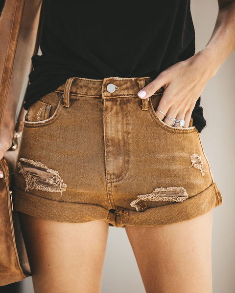 Stagecoach Distressed Cuffed Denim Shorts - Amber - FINAL SALE